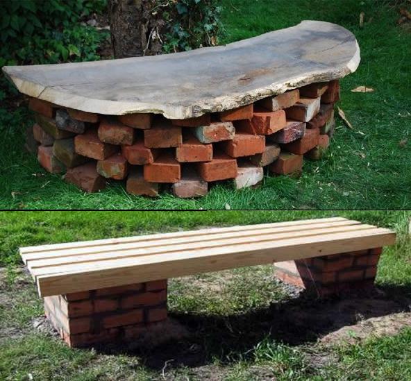 Скамейки из старого кирпича
