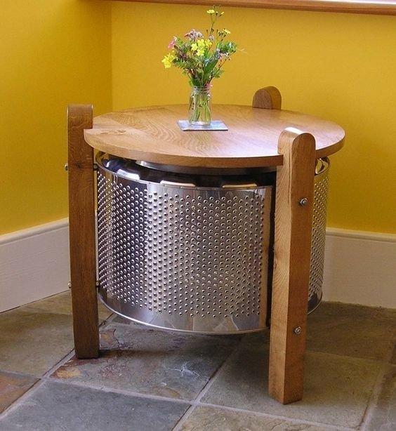 Журнальный столик из барабана от стиральной машины