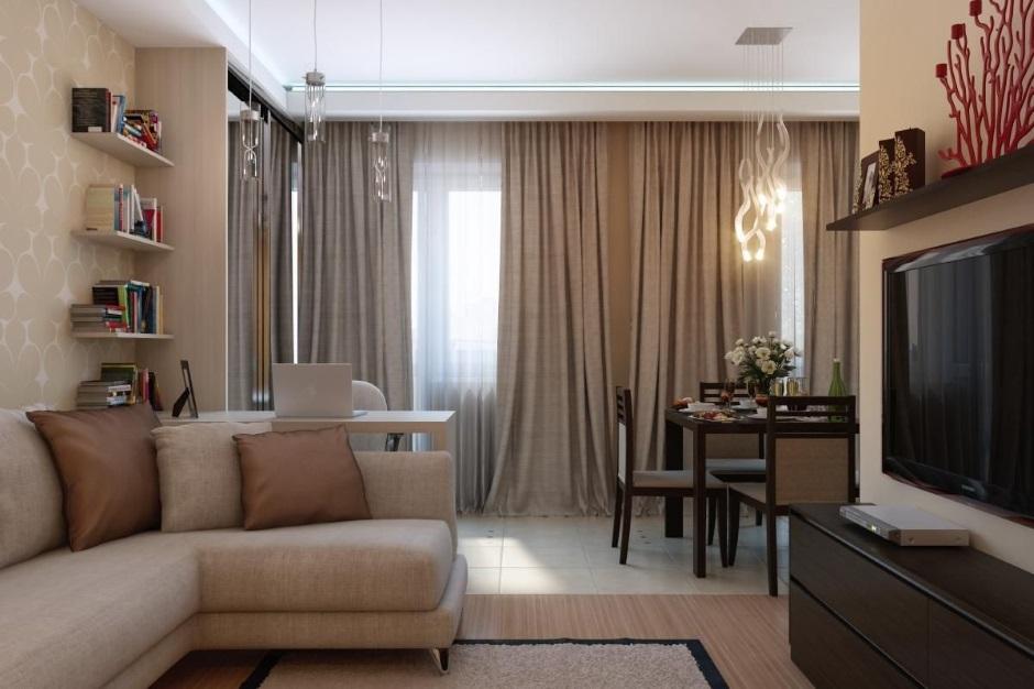 оформление гостиной в однокомнатной квартире фото тоже
