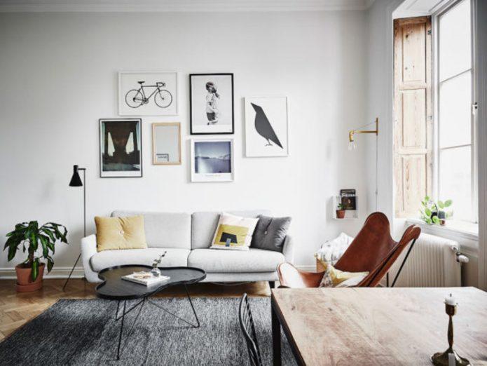 как повесить картины в гостиной