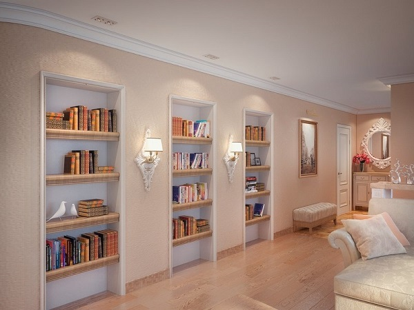 Встроенные ниши-стеллажи для книг