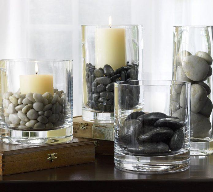 Подсвечники из вазы и стаканов