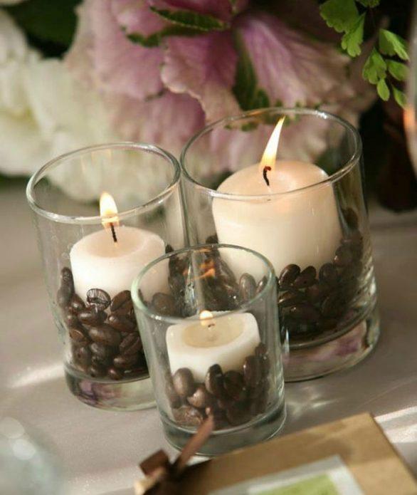 Подсвечники из стаканов с кофейными зёрнами