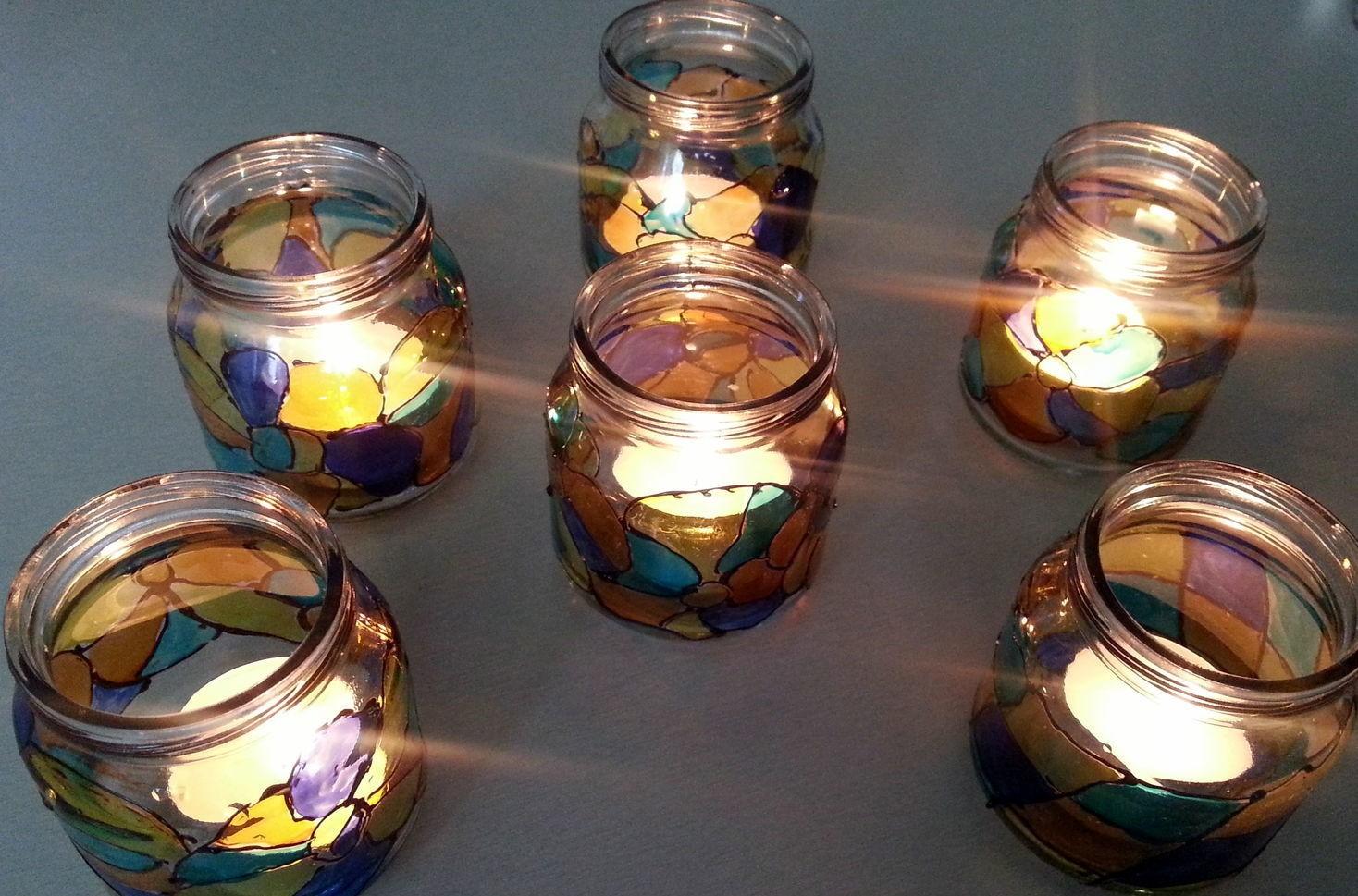 попадают дом подсвечники из банок своими руками фото имеющих сходство соцветиями