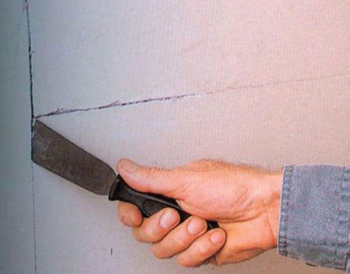 Подготовка стены для заделки трещины