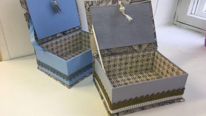 Эффектные шкатулки из обувных коробок