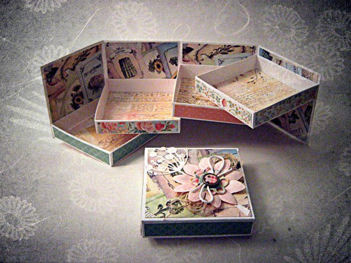 Сложная шкатулка из конфетных коробок