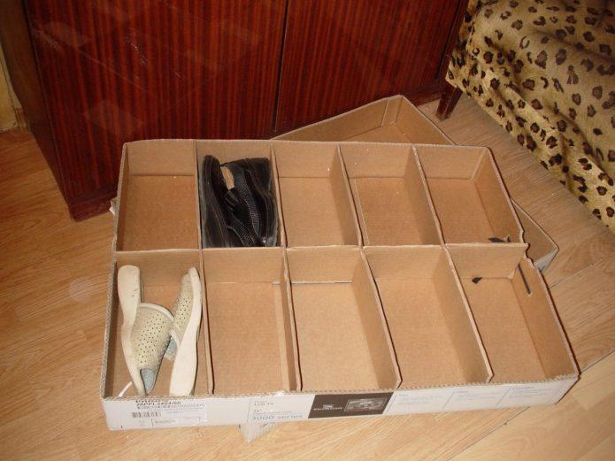 Ящик для хранения обуви из картонной коробки