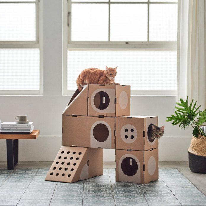 Лабиринт для кошек из коробок