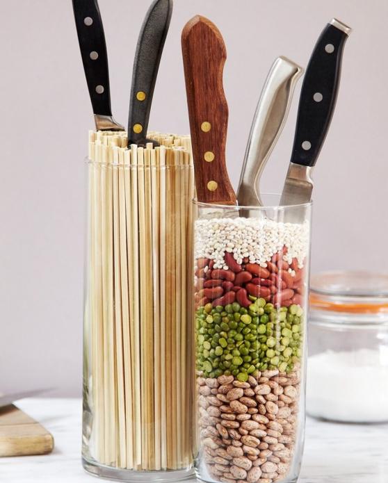 Подставка для ножей из стакана с крупами