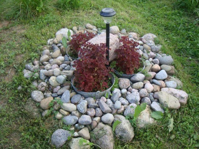 Контейнерная клумба, декорированная камнями