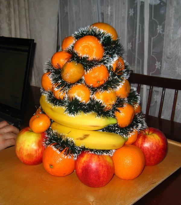 Новогодний декор из фруктов