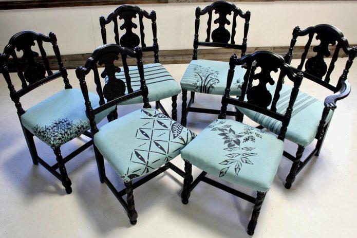 Обновлённый мебельный гарнитур из шести стульев