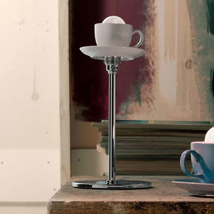 Абажур настольной лампы из чашки с блюдцем