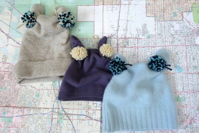 Детские шапочки из свитеров