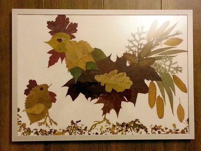 Милая аппликация из листьев