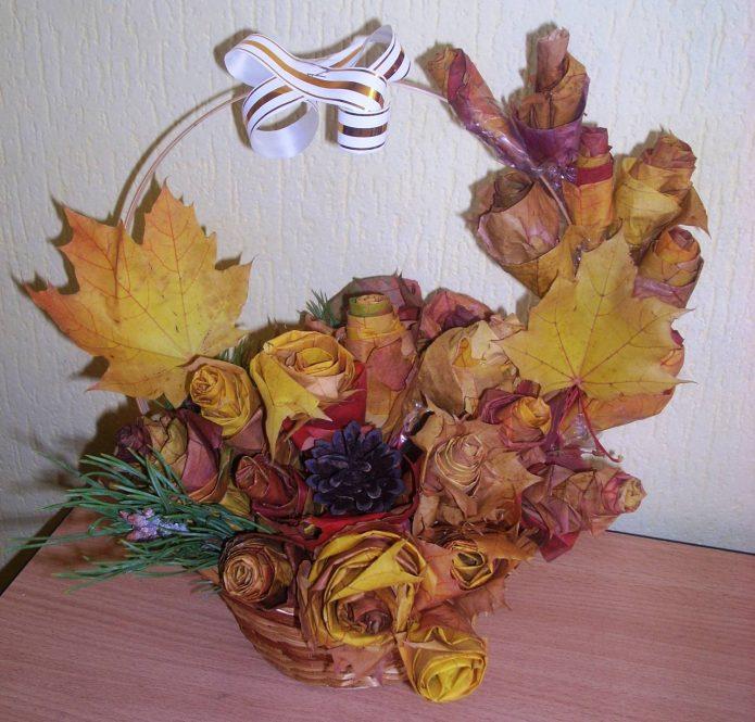Оригинальная корзинка с цветами из листьев