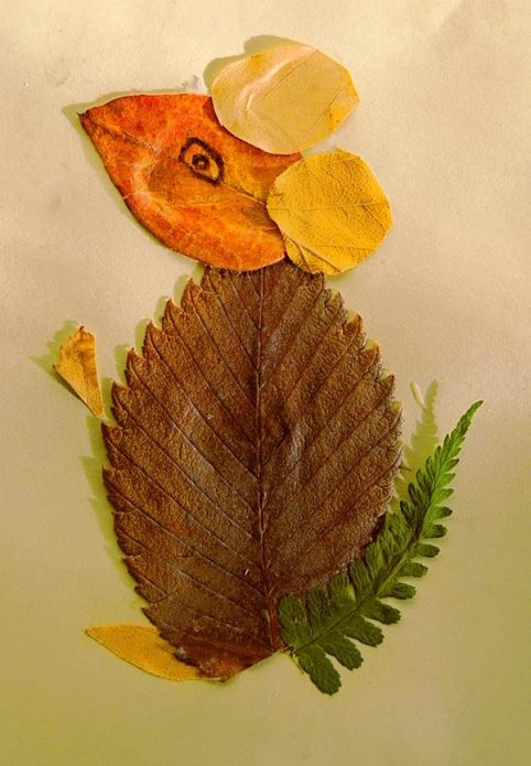 Детская аппликация из листьев