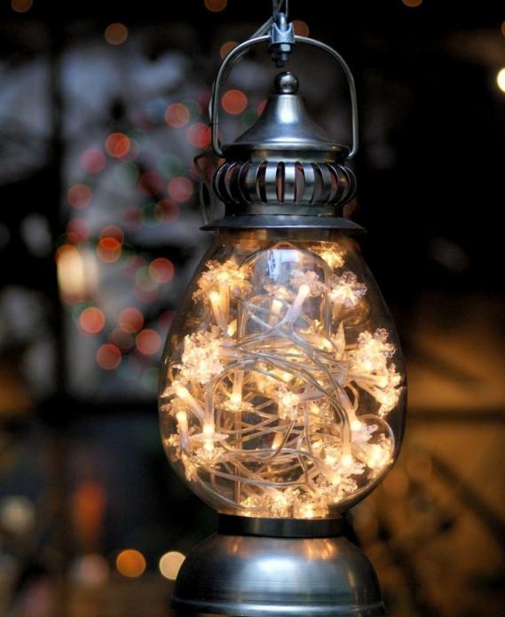 Праздничный фонарик из перегоревшей лампочки
