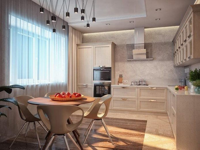 Комбинирование плитки и ламината светлых тонов на кухне
