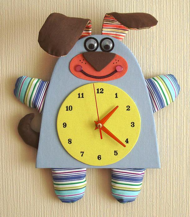Милые детские часы из картона