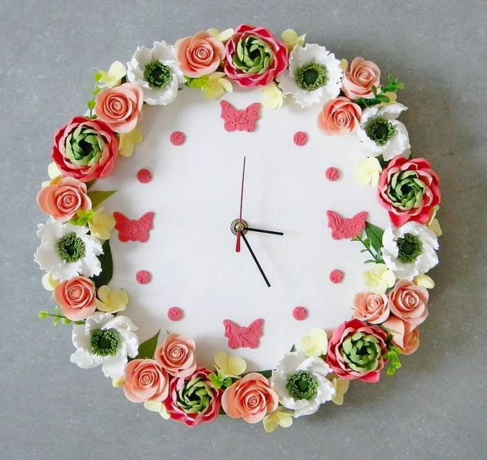 Часы из полимерной глиной