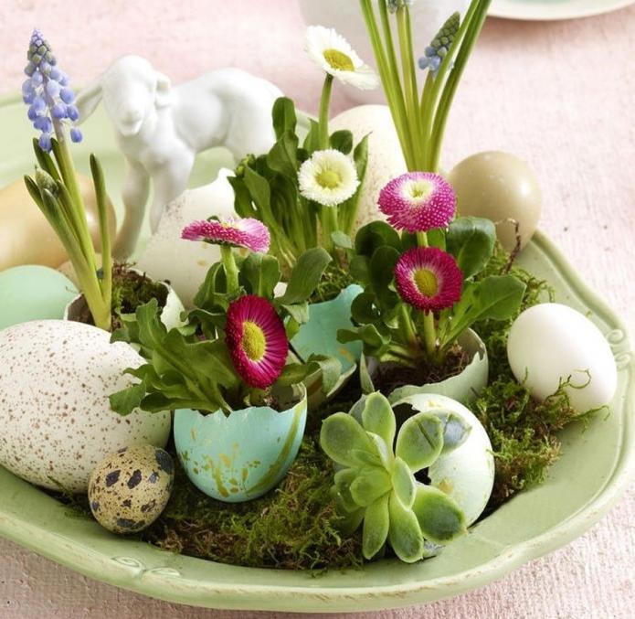 Украшение стола цветами в скорлупках