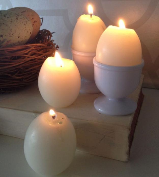 Свечи, сформированные в яичной скорлупе