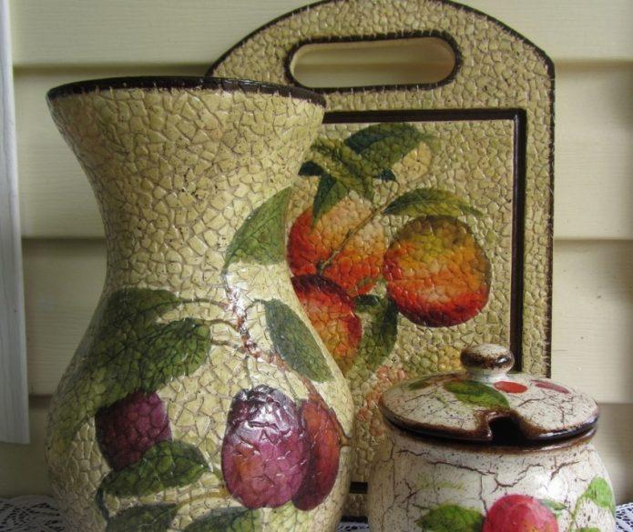 Декупаж вазы и кухонной утвари