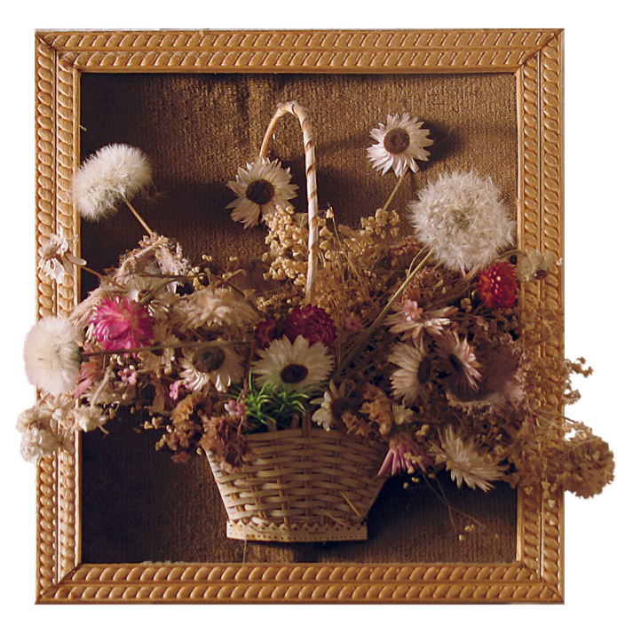 Букет из сухих цветов в раме