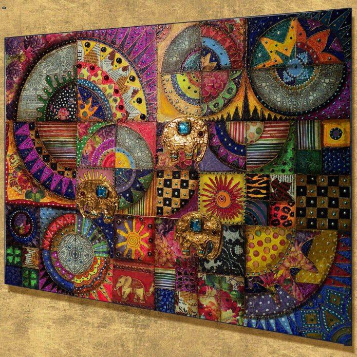 Коллаж из цветной ткани