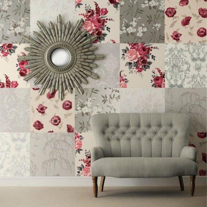 Колоритное оформление стены в гостиной
