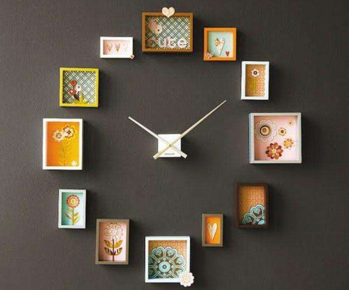 Часы, декорированные остатками обоев